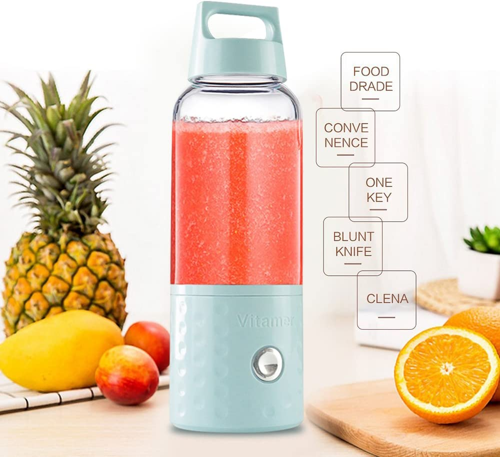 Vitamer Mini USB Rechargeable Juicer cup,Portable Personal Size Eletric Blender Smoothice(blue)