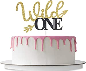 Helewilk Wild One Cake Topper with Arrow, 1st Birthday Party Decoration Supplies, Monogram Photo Props Decoration, Double Color Gold and Black Glitter