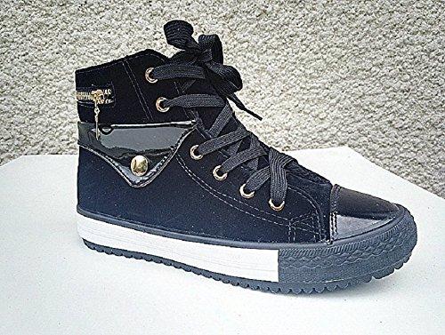 Basket montante femme bottine chaussure fourrure fourrée fille lacet zip mode R-95 NOIR