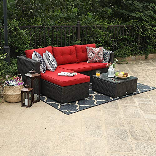 (PHI VILLA 3 Piece New Outdoor Furniture Sectional Sofa Patio Set Upgrade Rattan Wicker, Red)