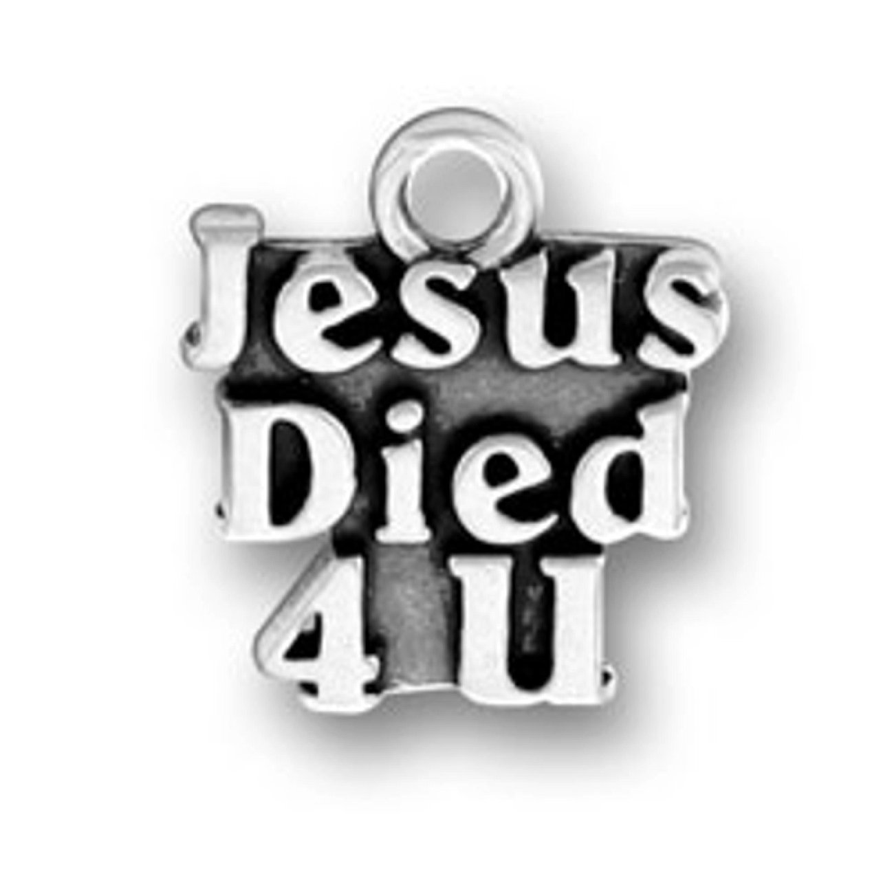 Sterling Silver Womens 1mm Box Chain JESUS DIED 4 U You Word Pendant Necklace