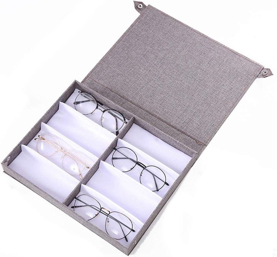 Estuche de anteojos Caja de almacenamiento de gafas de lino Caja de presentación de gafas de almacenamiento de gafas 8 Miopía Caja de presentación de ojos Caja de almacenamiento de gafas multicelulare: