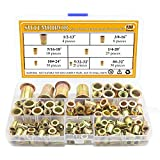 Sutemribor 128-Pack #8-32UNC #10-24UNC 5/32''-32UNC 1/4''-20UNC 5/16''-18UNC 3/8''-16 UNC Zinc Plated Carbon Steel Rivet Nut Flat Head Insert Nuts Assortment