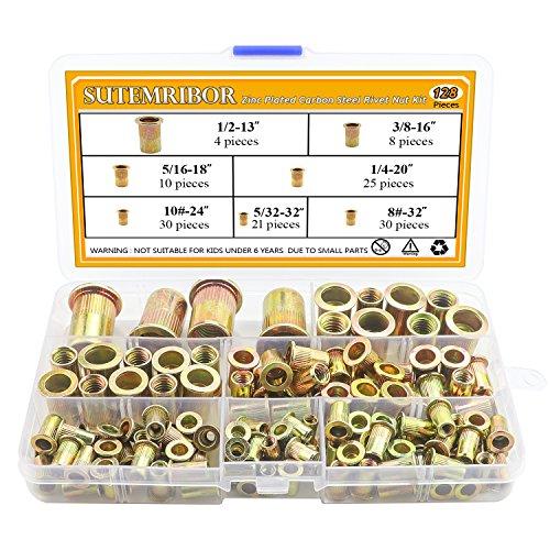 Sutemribor 128-Pack #8-32UNC #10-24UNC 5/32-32UNC 1/4-20UNC 5/16-18UNC 3/8-16 UNC Zinc Plated Carbon Steel Rivet Nut Flat Head Insert Nuts Assortment