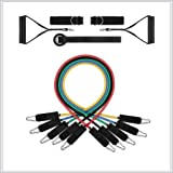 Exercise Resistance Bands Set, Fitness Stretch Workout Bands 12PC with Fitness Tubes, Foam Handles, Ankle Straps, Door…