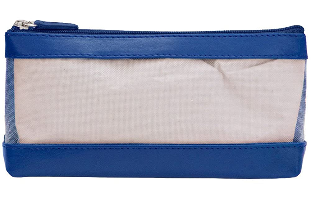 ili See Thru Leather Trim Cosmetic Case Cobalt