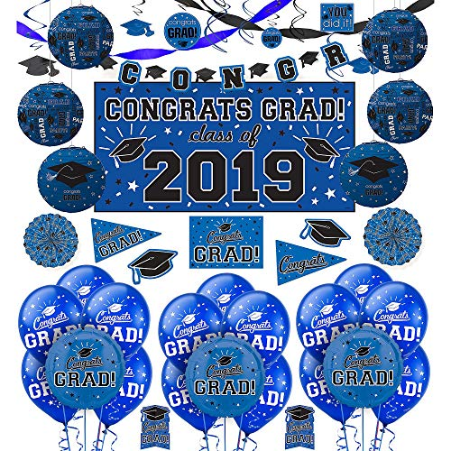 (Party City Congrats Grad Blue Graduation Deluxe Decorating Kit with Balloons, Includes a Banner, Lanterns, and)