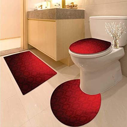Sensational Amazon Com Dark Red Bath Rug Set Piece Antique Floral Ocoug Best Dining Table And Chair Ideas Images Ocougorg