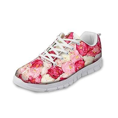 c745974160a18e Damen Laufschuhe Bunte Sportschuhe Turnschuhe Bequem Schnürer Sneaker  Schöne Blumen Schuhe  Amazon.de  Schuhe   Handtaschen