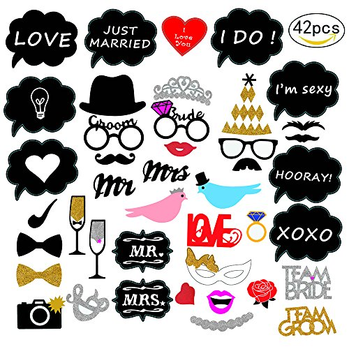 Jinhuamike Wedding Photo Booth Props Kit, for Wedding Party Bridal Shower Photo Booth Prop Decoration Supplies - 42 Count