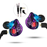 In-ear Earphones Wired Cable Detachable Noise-canceling Headphone Dual Driver Dynamic Earbuds with Mic for Smartphone Tablet Running, Workout, GYM (WITH ON-CORD CONTROL)