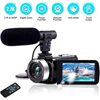 Camcorder Video Camera Ultra HD 2.7K 30MP 18X Digital Zoom Camcorder Camera with Microphone & Remote Control 3.0 Inch Touch Screen Video Camera