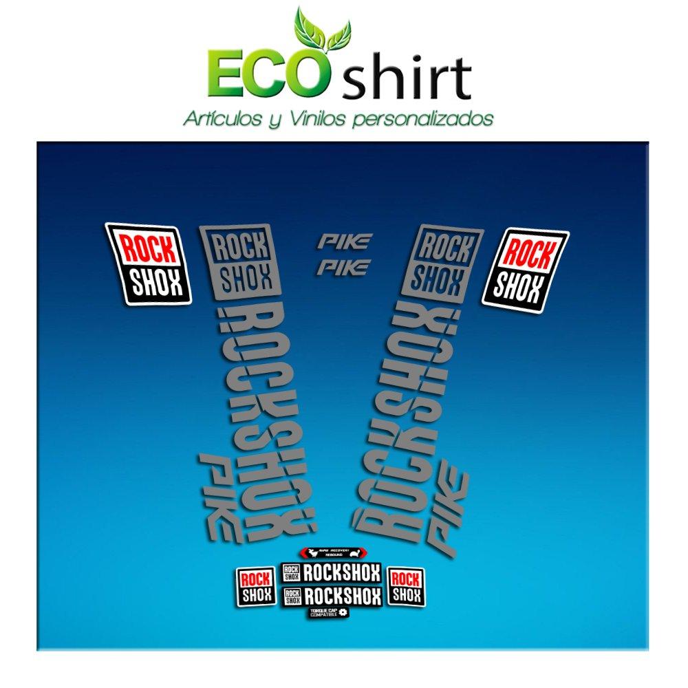 Silber Ecoshirt 09-5LW8-9O7X Sticker Stickers Fork Rock Shox Pike 2018 Am177 Aufkleber Decals Autocollants Adesivi Forcela