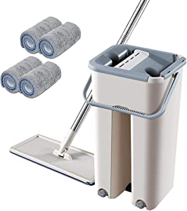 GGIENRUI Foldable Flat Mop and Bucket Set with 4 Squeegee Mop Pads Wash and Dry Mop Cleaning System Floor Cleaner Flat Mop for Wooden Floor Laminate Tiles Stone Floors
