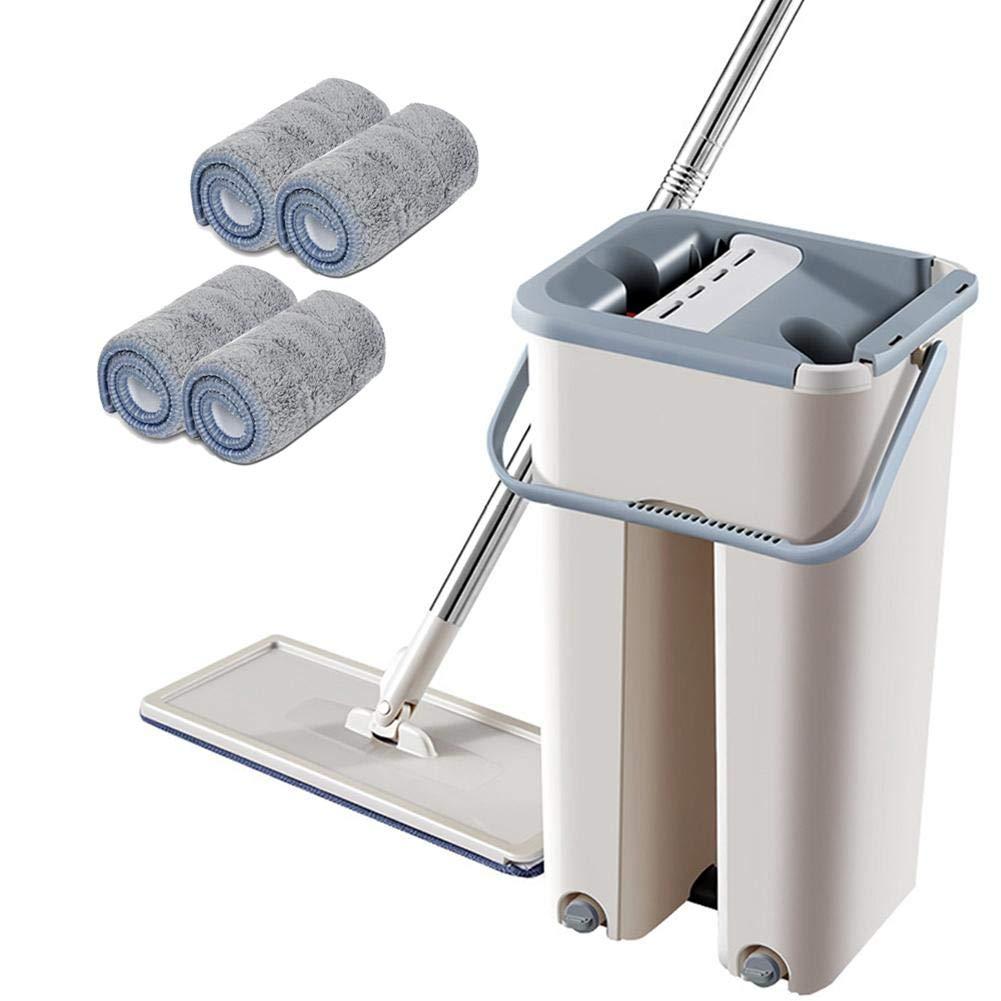 B/üro K/üche Reinigungsecken. Bad Minear Flachmopp-Set,Flach-Mop Mit Teleskopstange,Mikrofaser-Mopp-Set,Abnehmbarer Griff,schneller,einfacher,f/ür Zuhause
