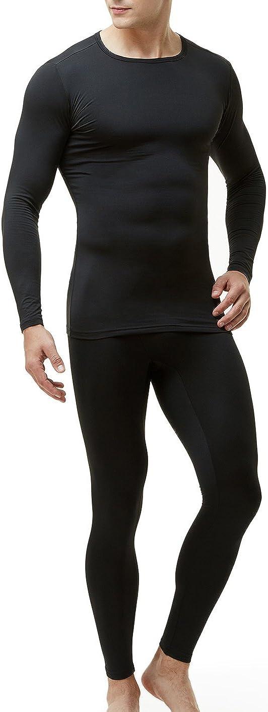 TSLA Blank Men's Thermal Microfiber Soft Fleece Long Johns Top & Bottom Set