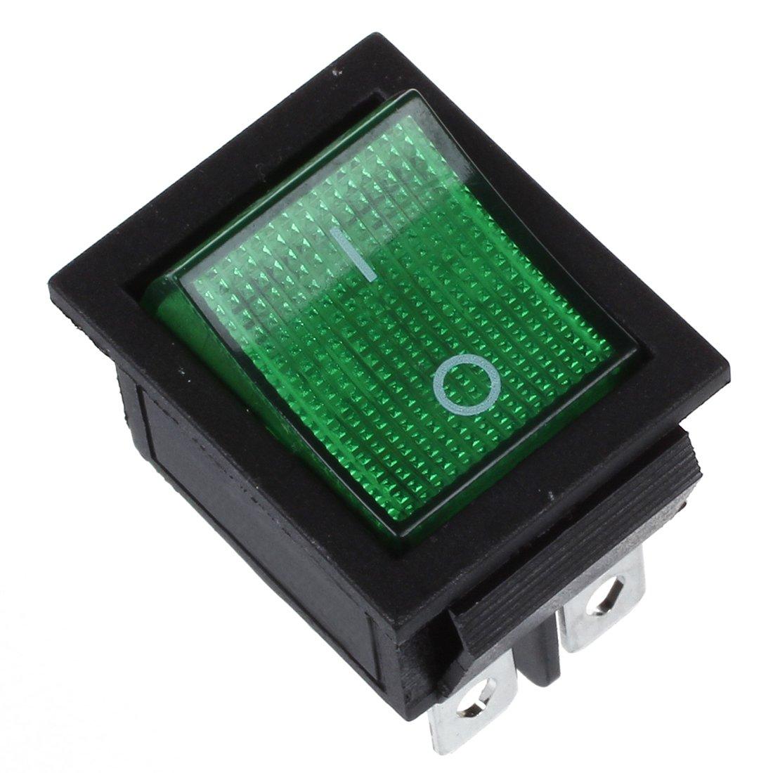 SODIAL(R) Green Light 4 Pin DPST ON/OFF Snap in Boat Rocker Switch 16A/250V 15A/125V AC