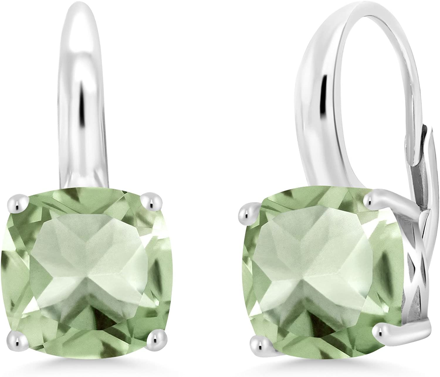 Gem Stone King 12.00 Ct Green Amethyst 12mm Round Checkerboard 925 Silver Earrings
