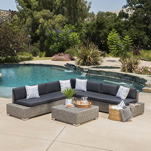 Venice Patio Furniture ~ 7 Seat | Wicker | V Shaped | Aluminum Frame | Outdoor Sectional Sofa