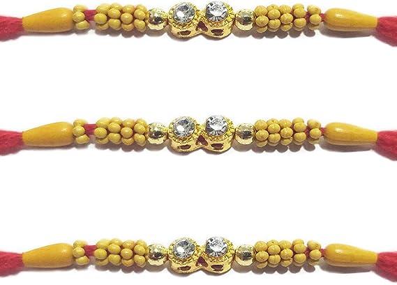WhopperIndia Set of 6 Four Diamond in square Shape Traditional Rakshabandhan Rakhee Bracelet Color and Design May Vary