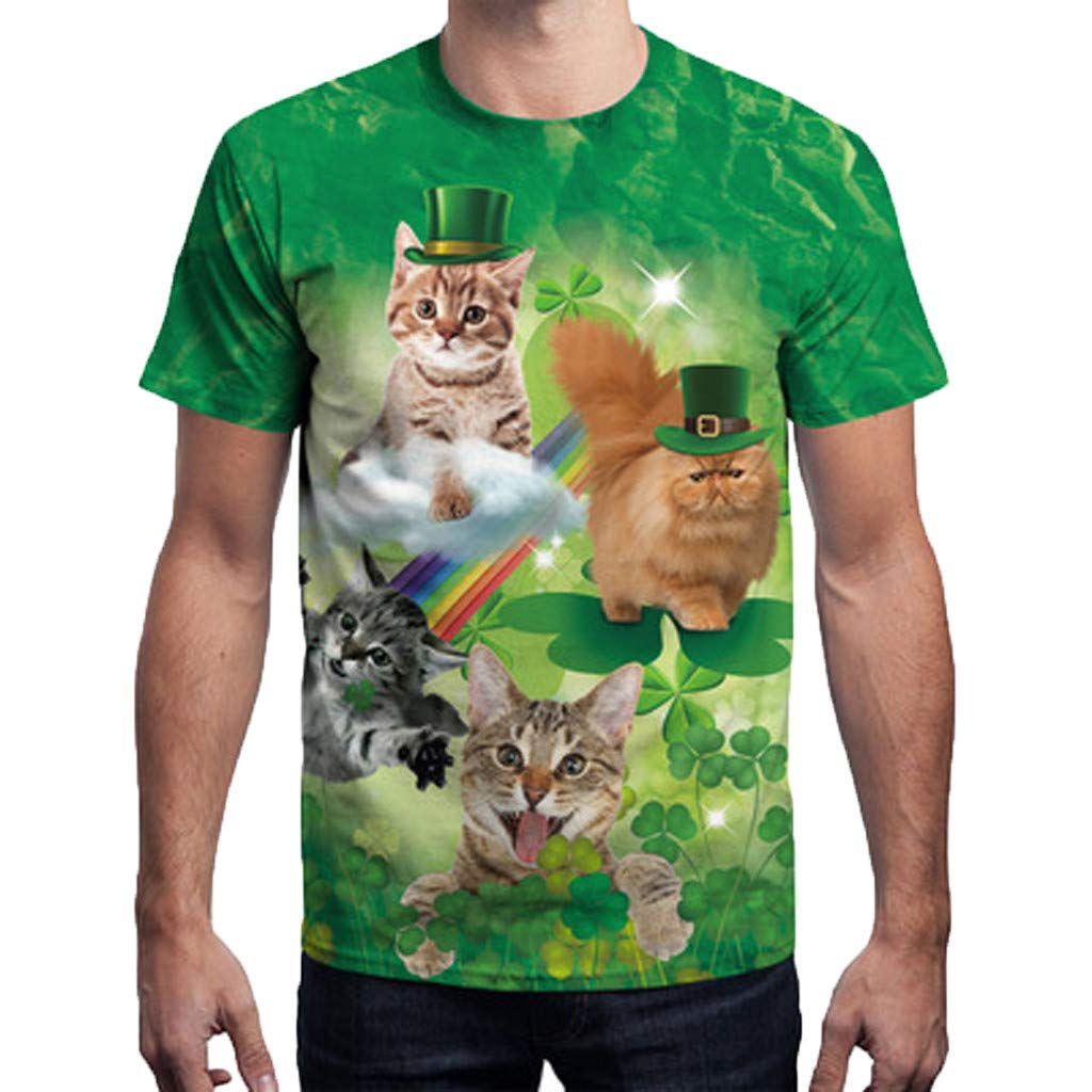 NUWFOR Mens 3D Print Casual St. Patrick's Day Short-Sleeved Shirt Top Blouse(Green,L US Chest:44.1''