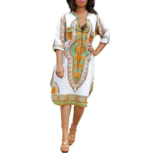 fda475b935558 African Printed Dress, Rakkiss New Women Summer Casual Deep V-Neck  Traditional African Print Party Dresses