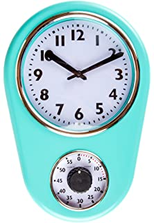 Superior Retro Kitchen Timer Wall Clock, Torquise.
