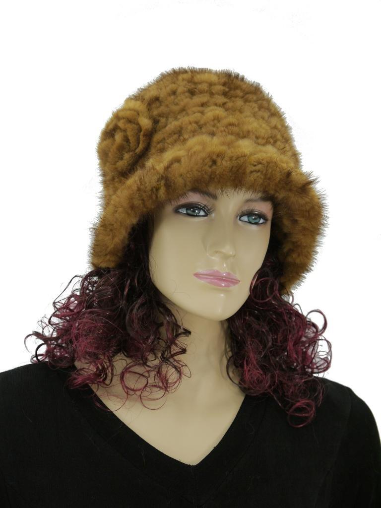 Mink fur knited Hat with Rosette Round flange (Whisky)