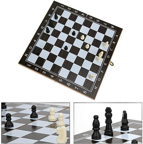 Tnfeeon Juego de ajedrez de Madera Plegable clásico, 3 en 1 Juego ...