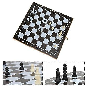 Zerodis- Juego de ajedrez Internacional Divertido de Madera 3 en 1 ...