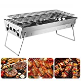 Shuzhu Tabletop Grill Portable Foldable Small Lightweight Stove Mini Charcoal BBQ Grill Stainless Steel for Outdoor Cooking Camping Hiking Picnics Tailgating Backpacking Kabob Yakitori For Sale