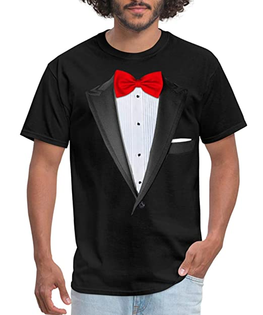 new products good top-rated latest Amazon.com: Spreadshirt Tuxedo with Red Bow Tie Men's T ...