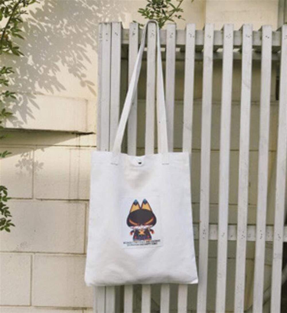 Zhoyea Durable Multipurpose Patch Large-Capacity Canvas Tote Shoulder Bag Handbag White