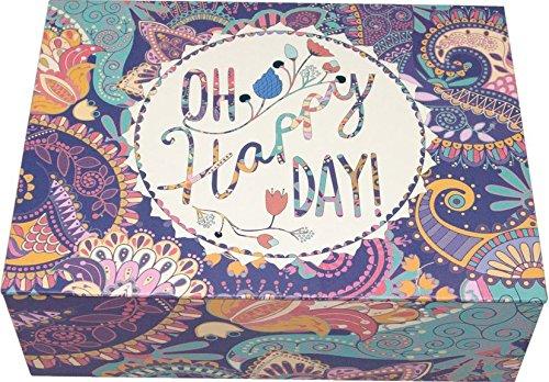 /Scatola in cartone decorata con motivo Oh Happy Day Creibo Cbox004/ lingua inglese