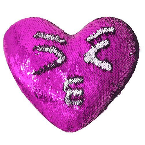 Tomus-UNI Mermaid Sequin Pillow with Insert, 13''×15'' Heart Magic Reversible Sequins Cushion for Home -