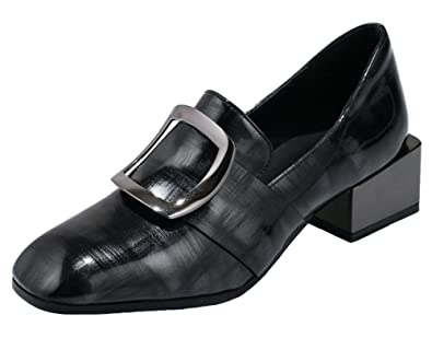 Women's Stylish Burnished Patterned Square Toe Low Top Medium Block Heel Pumps Shoes