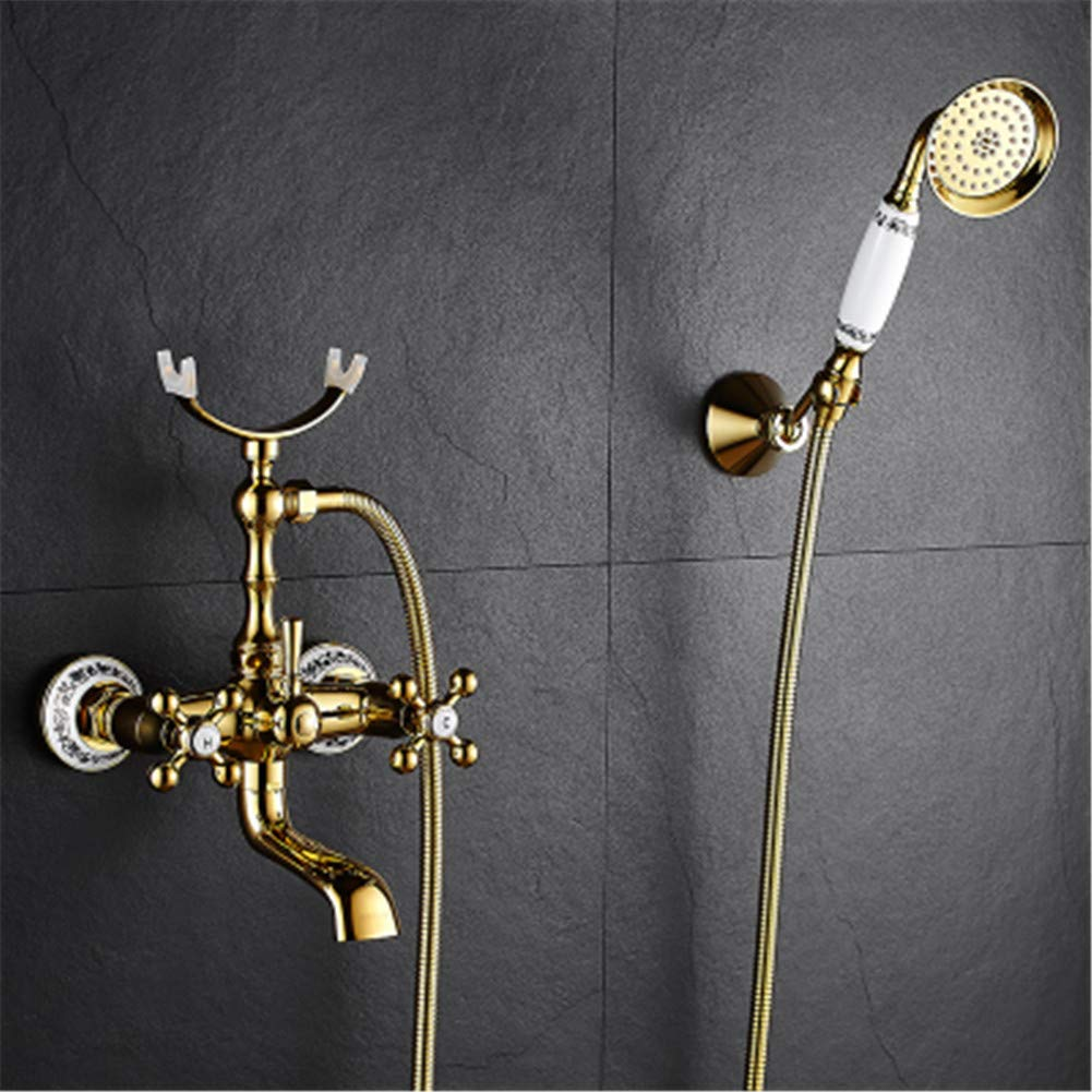 8 VHVCX golden bluee and White Porcelain Bathtub Faucet Antique Copper greenical Bathtub Faucet Shower Set Wall-Mounted Bathtub Faucet,5