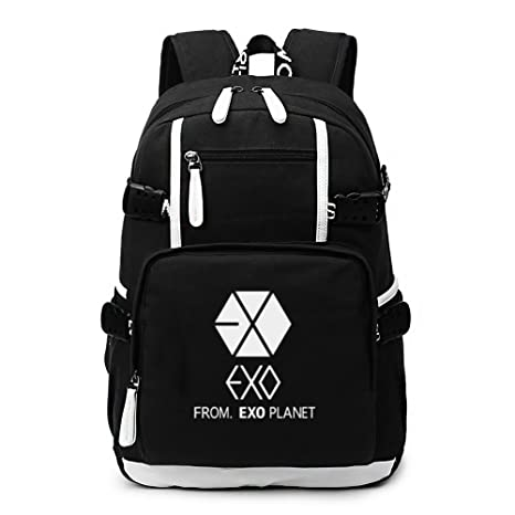 8151d9eef0 Amazon.com  Fanstown EXO kpop overdose XOXO backpack canvas school bag  latest fashion+ 2 pieces of EXO poster lomo card (black1)  Computers    Accessories