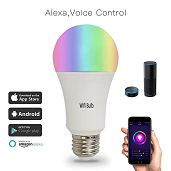 Smart Wifi bombilla trabajo con Alexa, Ndier LED Wifi Luz control de APP remoto multicolor Luces ...