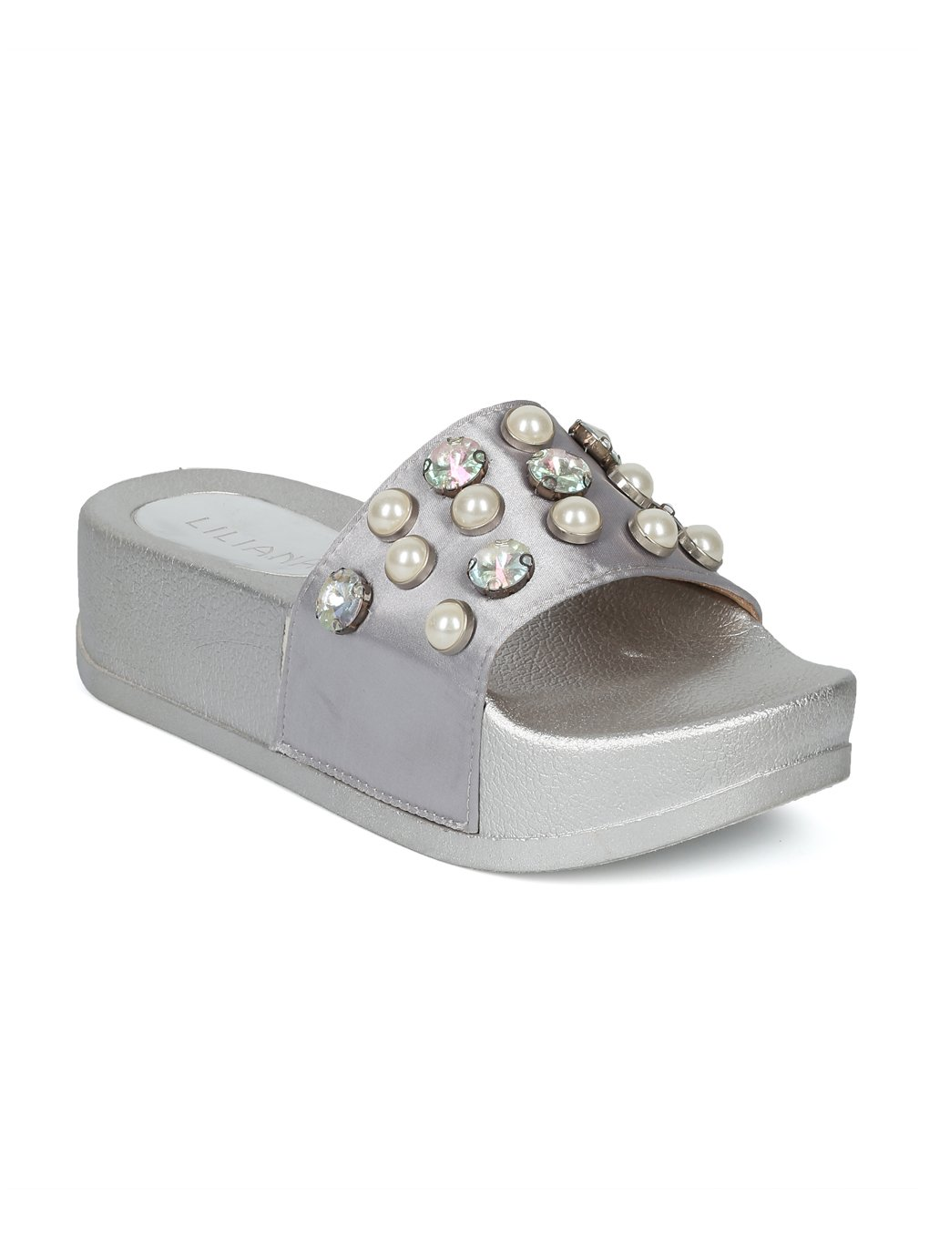 Alrisco Women Satin Faux Pearl and Gems Platform Footbed Slide HG26 B07999Y673 7.5 M US|Silver Satin