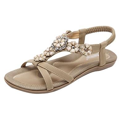 Damen Sommer Bohemia PU Leder Flach Sandalen, Damen Sandalen Freizeit Blumen-Stil Sandalen Sommer Schuhe,Damen Sommer Bohemia Flach Sandalen