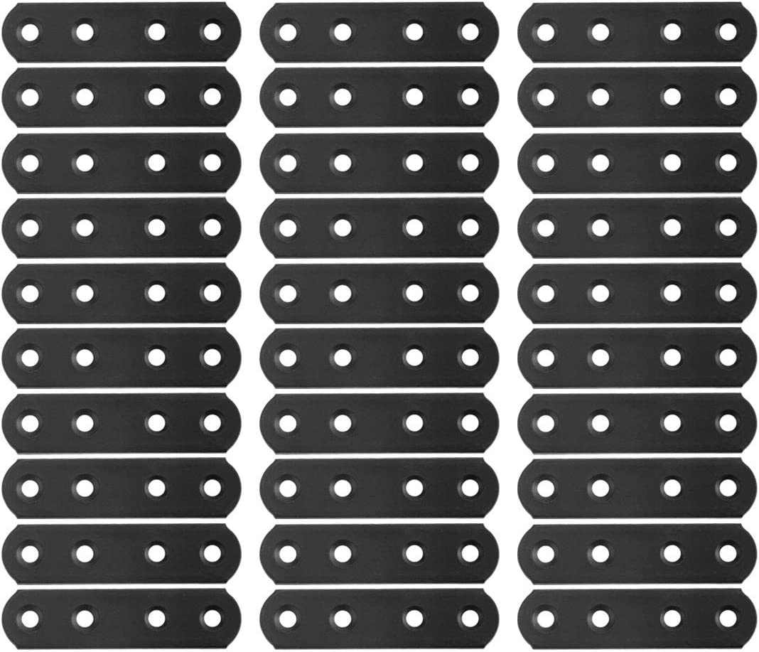 uxcell Straight Bracket Stainless Steel 78x20mm Flat Brace Corner Fastener Connector with Screws for Flat Straight Corner Brace Furniture Brackets Black Color 30 Pcs