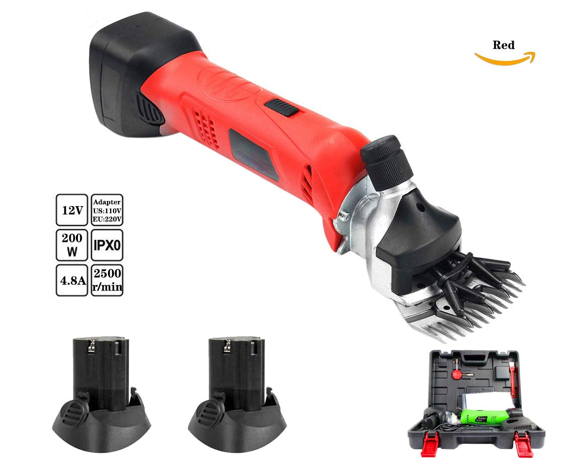 Red 12V 200W Cordless Electric Sheep Shearing Clipper, 13 Teeth, Farm Livestock Sheep Pet Shears Clipper, Contain 2 Pieces Rechargeable Lithium Battery,Red
