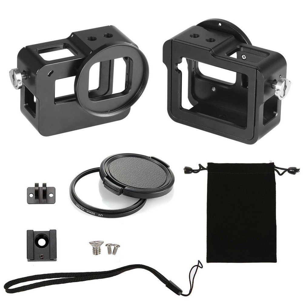 B&W Pattern Housing Shell Case CNC Aluminum Alloy Protective Cage with Insurance Frame & 52mm UV Lens cap for GoPro HERO 6/5