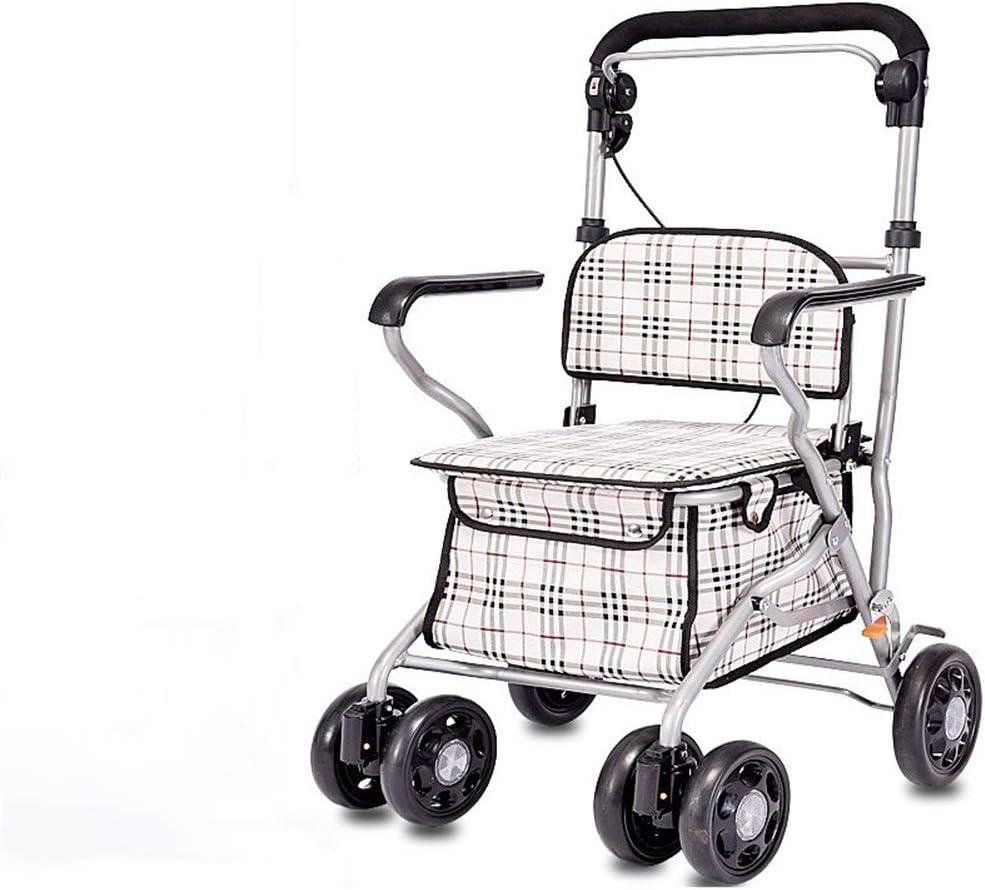 J.GH Carro de la Compra Plegable de Acero, Andador portátil con Ruedas con 4 Ruedas y un Freno, Ayuda de Movilidad para Adultos Mayores discapacitados