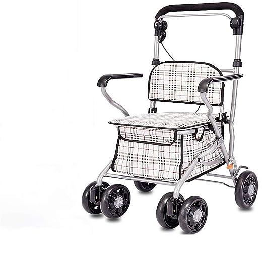 J.GH Carro de la Compra Plegable de Acero, Andador portátil con ...