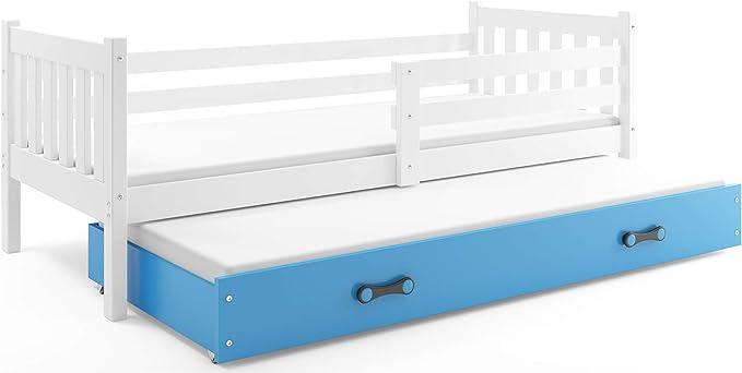 Interbeds Funktionsbett Miko 190x90cm Farbe: Wei/β Farbe zur Wahl; mit Lattenroste und Matratzen blau 2