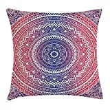 Queen Area Pink and Purple Ombre Mandala Design Ethnic Eastern Pattern Chakra Meditation Hippie Square Throw Pillow Covers Cushion Case for Sofa Bedroom Car 18x18 Inch, Purple Pink