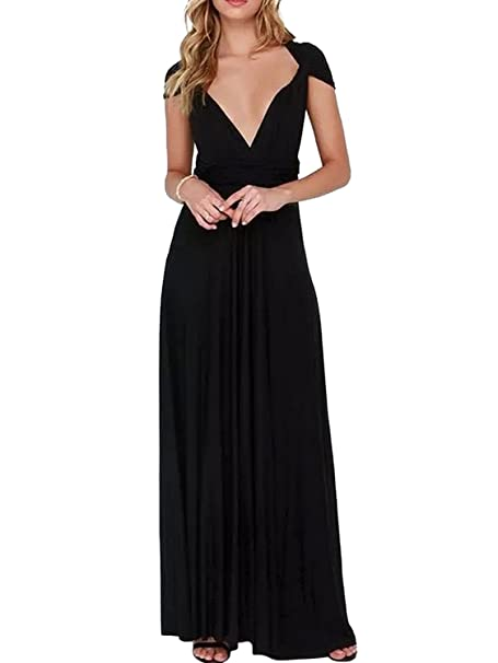 09909371cf7b Clothink Women's Black Convertible Wrap Multi-Way Maxi Long Dress Black  Small