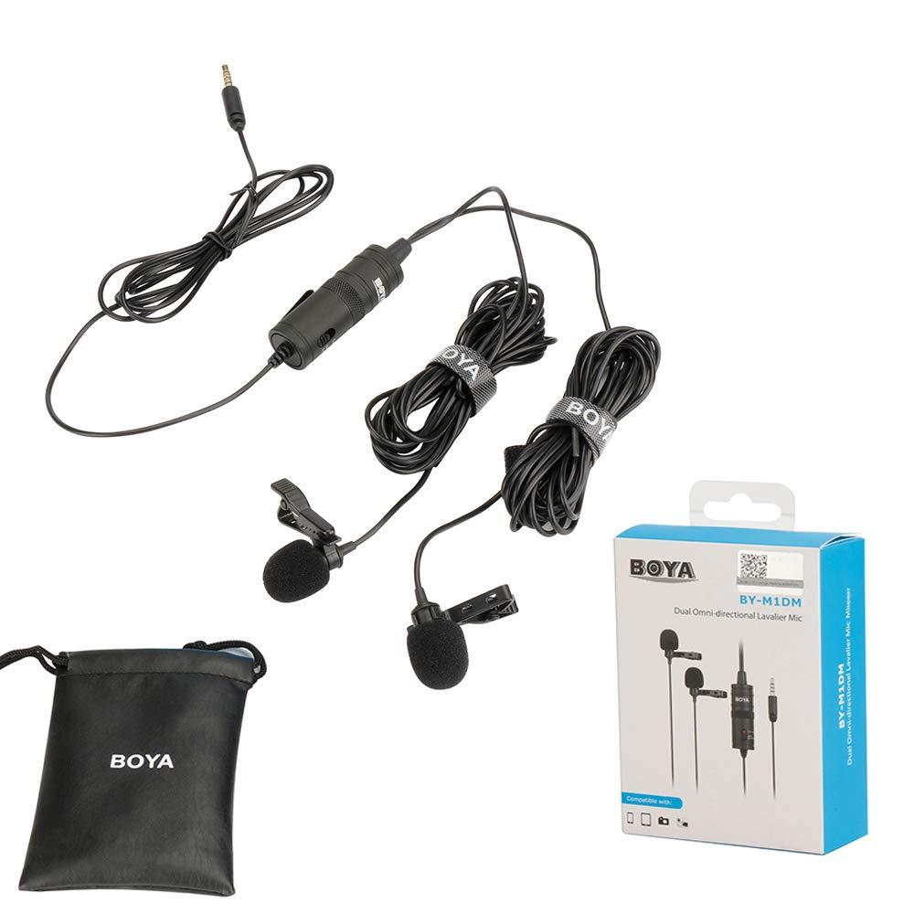 Boya by-m1dm Dual universel Lavalier Microphone with a single 1//8/st/ér/éo Connector for Smartphones DSLR camears cam/éscopes